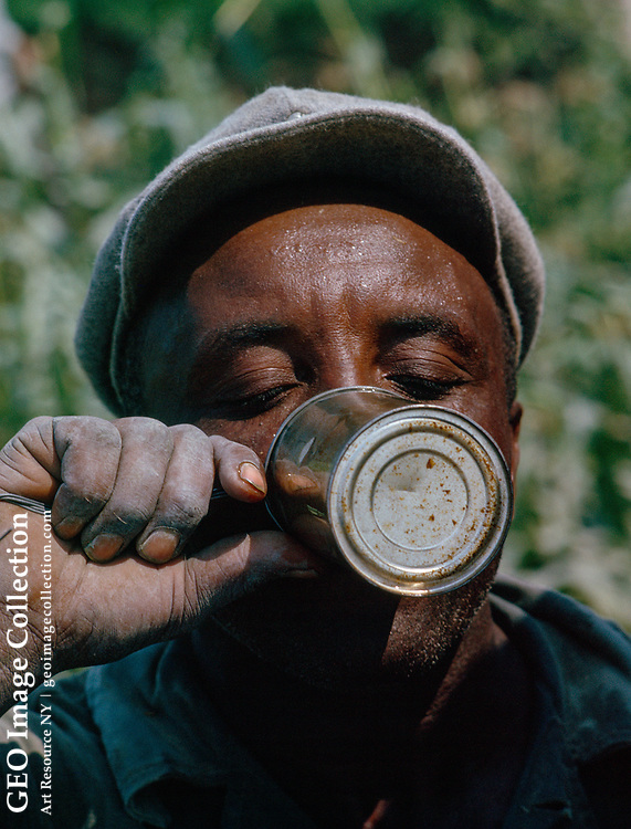 Agricultural laborer drinking from a tin can.