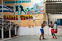 Sparring in the gym, Old Havana, Cuba 2020 from Santiago to Havana, and in between.  Santiago, Baracoa, Guantanamo, Holguin, Las Tunas, Camaguey, Santi Spiritus, Trinidad, Santa Clara, Cienfuegos, Matanzas, Havana