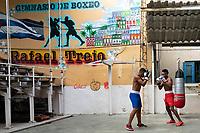 Sparring in the gym, Old Havana, Cuba 2020 from Santiago to Havana, and in between.  Santiago, Baracoa, Guantanamo, Holguin, Las Tunas, Camaguey, Santi Spiritus, Trinidad, Santa Clara, Cienfuegos, Matanzas, Havana