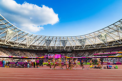 London, August 10 2017 . the pack streams past in the women's 5,000m heats on day seven of the IAAF London 2017 world Championships at the London Stadium. © Paul Davey.