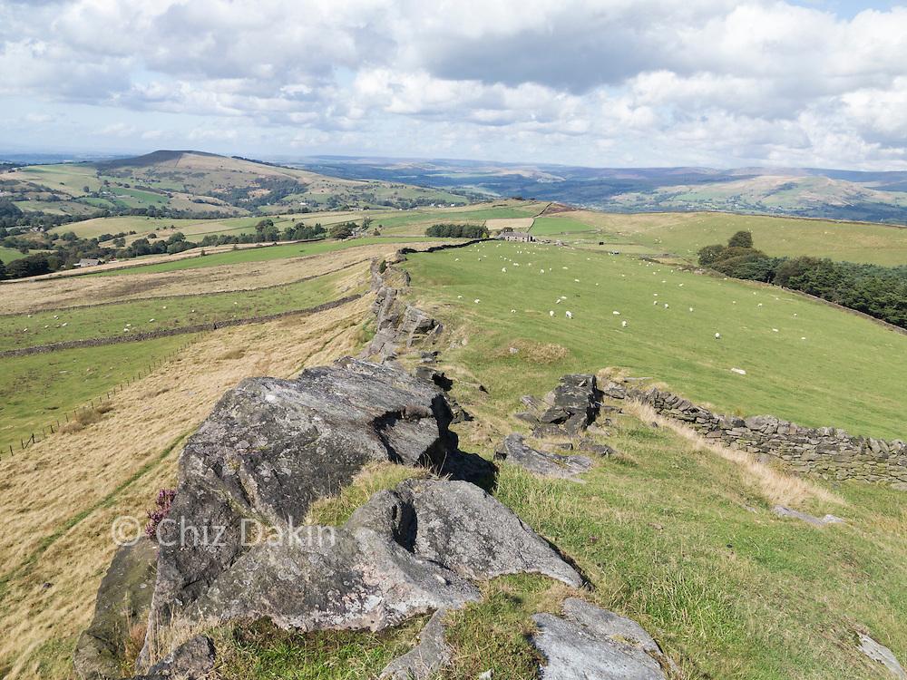 View down Taxal Edge beyond Windgather rocks