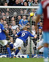 Photo: Steve Bond/Sportsbeat Images.<br /> Birmingham City v Aston Villa. The FA Barclays Premiership. 11/11/2007. Mikael Forssell (9) powers his header into the Villa net for Birminghams equaliser