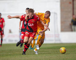 Annan Athletic's Scott Hooper and Livingston Kenny Miller. Livingston 1 v 0 Annan Athletic, Scottish League Cup Group F, played 21/7/2018 at Prestonfield, Linlithgow.