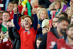 CARDIFF, WALES - Monday, October 9, 2017: A Wales supporter cheers on the team before the 2018 FIFA World Cup Qualifying Group D match between Wales and Republic of Ireland at the Cardiff City Stadium. (Pic by Paul Greenwood/Propaganda)