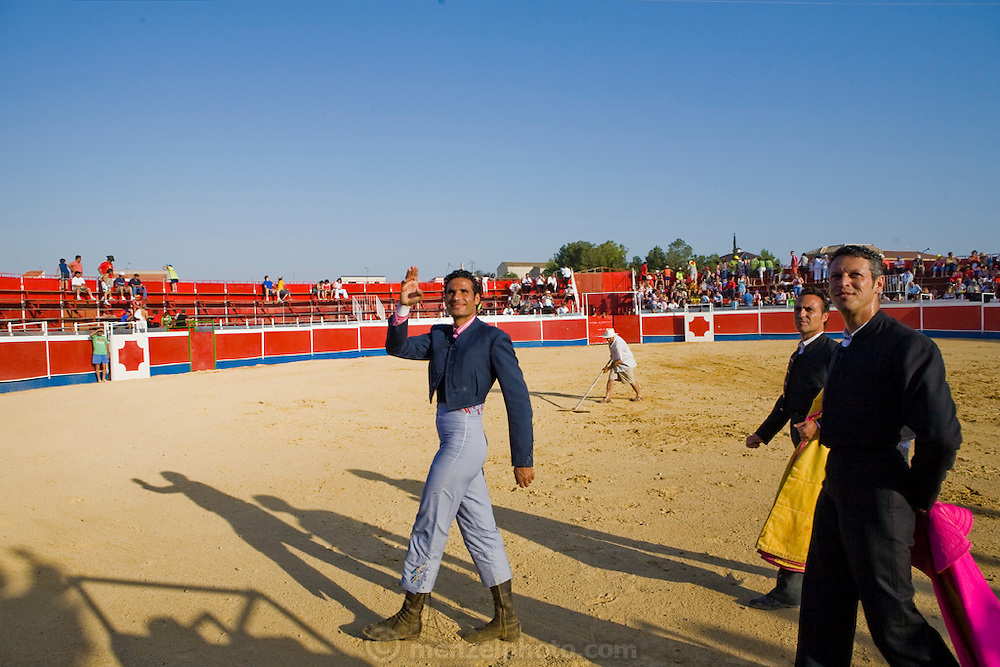 Professional bullfighter Oscar Higares (center) at a bullfighting festival at Campos del Rio, near Murcia, Spain. (Oscar Higares is featured in the book What I Eat: Around the World in 80 Diets.)