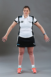 Umpire Rachael Radford signalling obstruction of player without ball