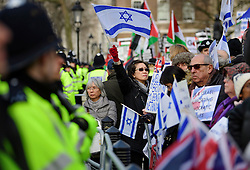 © Licensed to London News Pictures. 06/02/2017. London, UK. Pro israel supporters take part in a  A demonstration at the gates to Downing Street in London ahead of a meeting between Israeli Prime Minister Benjamin Netanyahu and British Prime Minister Theresa May in Downing Street. Photo credit: Ben Cawthra/LNP