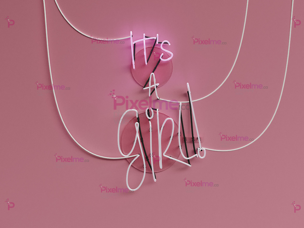 Its a Girl announcement neon sign over a pink background with its words in on - 3d rendering concept