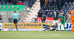 Falkirk's Nathan Austin brought down by Dundee United's keeper Luis Zwick for their penalty. Falkirk 3 v 0 Dundee United, Scottish Championship game played 11/2/2017 at The Falkirk Stadium.