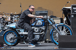 Chris Eder of Misfit Industries unveils their new Geico Bikes at the Boardwalk Bandshell during Daytona Bike Week 75th Anniversary event. FL, USA. Monday March 7, 2016.  Photography ©2016 Michael Lichter.