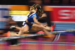 March 2, 2018 - Birmingham, England, United Kingdom - Christina Manning ofUnited States at 60 meter hurdles at World indoor Athletics Championship 2018, Birmingham, England on March 2, 2018. (Credit Image: © Ulrik Pedersen/NurPhoto via ZUMA Press)