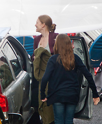 """Day two of filming. Brad Pitt's co-stars Mireille Enos on the set of the movie """"World War Z"""" being shot in the city centre of Glasgow. The film, which is set in Philadelphia, is being shot in various parts of Glasgow, transforming it to shoot the post apocalyptic zombie film..© pic : Michael Schofield."""