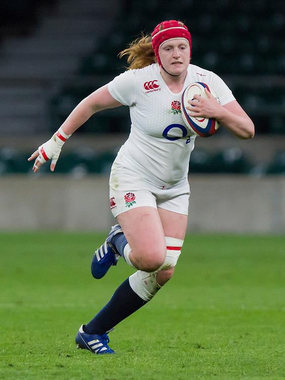 Harriet Millar-Mills in action, England Women v France Women in the 6 Nations at Twickenham Stadium, Twickenham, England, on 21st March 2015