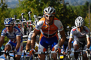 France, October 10 2010: An unidentified RABOBANK (RAB) rider climbs the Côte de l'Epan during the 2010 Paris Tours cycle race.  Copyright 2010 Peter Horrell