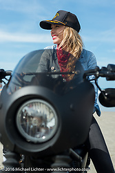 Leticia Cline from the Iron Lillies on Daytona Beach during Daytona Bike Week 75th Anniversary event. FL, USA. Thursday March 3, 2016.  Photography ©2016 Michael Lichter.
