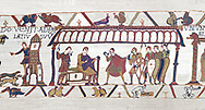Bayeux Tapestry  Scene 15 - Harold and Duke Williams hold negotiations.  BYX15,