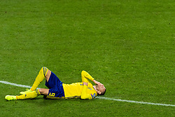 March 23, 2019 - Stockholm, SWEDEN - 190323 Marcus Berg of Sweden lies down during the UEFA Euro Qualifier football match between Sweden and Romania on March 23, 2019 in Stockholm  (Credit Image: © Simon HastegÃ…Rd/Bildbyran via ZUMA Press)