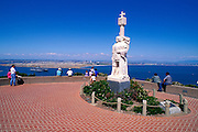 Cabrillo statue and the San Diego skyline from Point Loma, Cabrillo National Monument, California