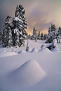 Sunset over Red Heather Meadows in winter, Garibaldi Provincial Park, British Columbia, Canada.