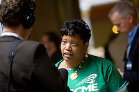062911JT022 - HARTFORD:.Dawn Tyson, a state clerical worker and member of AFSCME Local 538, speaks to a member of the media during a recess of the special legislative session on Thursday at the Capitol..Photo by Josalee Thrift