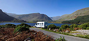 A motor home parks beside a lake in The Black Valley, Killarney County Kerry Ireland.<br /> Photo: Don MacMonagle <br /> e: info@macmonagle.com