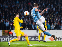 February 14, 2019 - MalmÃ, Sweden - 190214 Sören Rieks of Malmö FF with a shot during the Europa league match between Malmö FF and Chelsea on February 14, 2019 in Malmö..Photo: Ludvig Thunman / BILDBYRÃ…N / kod LT / 92225 (Credit Image: © Ludvig Thunman/Bildbyran via ZUMA Press)