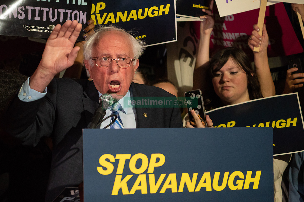 July 9, 2018 - Washington, District of Columbia, U.S. - Senator BERNIE SANDERS, (D-VT), speaks to a crowd of Pro Choice supporters at the Supreme Court after President Trump nominated federal judge Brett Kavanaugh to Supreme Court to succeed retiring Justice Anthony Kennedy. (Credit Image: © Ken Cedeno via ZUMA Wire)
