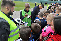 England's Fabian Delph signs autographs for fans during the training session at the Spartak Zelenogorsk Stadium, Repino.
