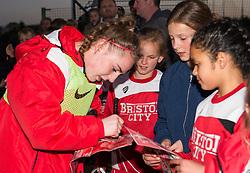 Katie Jones of Bristol City Women signs a fan's programme - Mandatory by-line: Paul Knight/JMP - 09/05/2017 - FOOTBALL - Stoke Gifford Stadium - Bristol, England - Bristol City Women v Manchester City Women - FA Women's Super League Spring Series