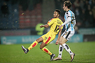 Grant Ward (Rotherham United) and Ben Chilwell (Huddersfield Town) during the Sky Bet Championship match between Huddersfield Town and Rotherham United at the John Smiths Stadium, Huddersfield, England on 15 December 2015. Photo by Mark P Doherty.