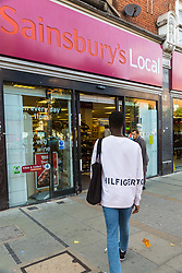 Lance enters Sainsbury's Local where he was unable to obtain a knife in an exercise where a 17-year-old visited numerous big brand shops on Streatham High Road in an attempt to purchase a knife to illustrate the extent of knife control and age checking in London stores. Streatham, London, August 30 2019.