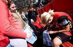 Maja Zrnec of Krim with fans after the 2nd Round of Group 1 at Women Champions League handball match between RK Krim Mercator, Ljubljana and HC Leipzig, Germany on February 13, 2010 in Arena Kodeljevo, Ljubljana, Slovenia. Krim defeated  Leipzig 32-26. (Photo by Vid Ponikvar / Sportida)