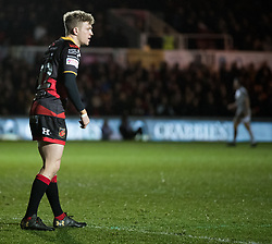 Dragons' Angus O'Brien<br /> <br /> Photographer Simon King/Replay Images<br /> <br /> Guinness Pro14 Round 12 - Dragons v Cardiff Blues - Sunday 31st December 2017 - Rodney Parade - Newport<br /> <br /> World Copyright © 2017 Replay Images. All rights reserved. info@replayimages.co.uk - http://replayimages.co.uk