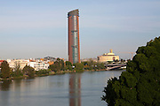 Cajasol Tower office block under construction in La Cartuja area of Seville, Spain viewed from the Guadalquivir River