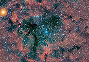 IC 1396 with consentration of dark, interstellar gas known as the Elephant Trunk Nebula (IC 1396A, bottom center) in the constellation Cepheus. (Do see image #73167-D for a 2h less exporsure of the same area).