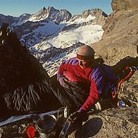 John Moynier bivouacs atop Temple Crag, above the Palisade Glacier in California's Sierra Nevada.