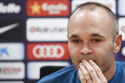 April 27, 2018 - Barcelona, Catalonia, Spain - April 27, 2018 - Ciutat Esportiva Joan Gamper, Barcelona, Spain - Andres Iniesta announces his departure from FC Barcelona at the end of the season. (Credit Image: © Eric Alonso via ZUMA Wire)
