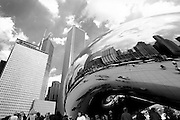 """Anish Kapoor's """"Cloud Gate"""" sculpture, which will be finished in September, at Millennium Park in Chicago which opened Friday July 16, 2004."""