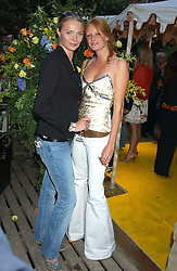 Left to right, Models JODIE KIDD and OLIVIA INGE at Michele Watches Kaleidoscope Summer Garden Party held at Home House, Portman Square, London on 15th June 2005.<br />