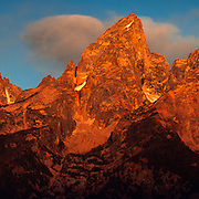 Multiple image high resolution panorama of the Grand Teton Mountain Range during sunrise.
