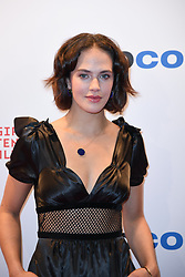 Jessica Brown Findlay poses as arriving for the opening ceremony of the MIPCOM in Cannes - Marche international des contenus audiovisuels du 16-19 Octobre 2017, Palais des Festivals, Cannes, France.<br />Exhibition MIPCOM (International Market of Communications Programmes) at Palais des Festivals et des Congres, Cannes (Photo by Lionel Urman/Sipa USA)