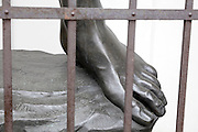 the feet of a real size copy of the Michelangelo David sculpture Tokyo Japan
