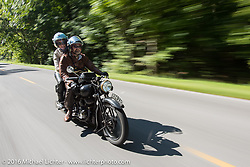 Paul D'Orleans riding Bryan Bossier's 1933 Brough Superior 11-50 with partner and passenger Susan McLaughlin during Stage 5 of the Motorcycle Cannonball Cross-Country Endurance Run, which on this day ran from Clarksville, TN to Cape Girardeau, MO., USA. Tuesday, September 9, 2014.  Photography ©2014 Michael Lichter.