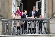 16.04.2016. Copenhagen, Denmark.<br /> Crown Prince Frederik and Crown Princess Mary of Denmark, with their children Princess Isabella, Prince Christian, Princess Josephine and Prince Vincent appear on the Balcony of Amalienborg Palace on The 76th Birthday of Queen Margrethe II of Denmark.<br /> Photo:© Ricardo Ramirez