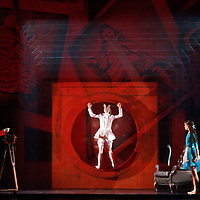 Picture Shows : Erik Cavallari (l) as Charles Dogson, Tomomi Sato as the White Rabbit (centre) and Sophie Martin as Alice...Scottish Ballet unveils its brand new production of Alice, based on Lewis Carroll's stories and created for the Company by Artistic Director Ashley Page. ..Picture by Drew Farrell...Opening at Theatre Royal, Glasgow, on Tuesday 12th April, Alice is an extraordinary adventure in which our heroine tumbles through a camera lens and finds herself in a strange dreamlike place full of curious characters...The costumes, created by designer Antony McDonald, include a glamorous Cheshire Cat in a showgirl-style corset, Humpty Dumpty with design cues from eccentric late British artist Leigh Bowery, a trumpet-playing Mock Turtle dressed in Harris Tweed fabric, and a Mad Hatter with a very impressive hat...Alice opens at Theatre Royal, Glasgow, on 12th April and runs until 16th April, before touring Edinburgh, Inverness, Cardiff and Aberdeen..