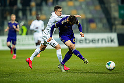Luka Menalo of NK Olimpija and Mitja Viler of NK Maribor during football match between NK Maribor and NK Olimpija Ljubljana in Round #21 of Prva liga Telekom Slovenije 2019/20, 22 February, 2020 in Ljudski vrt, Maribor, Slovenia. Photo By Grega Valancic / Sportida