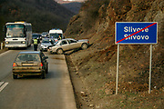 Kosovo police arrived at the scene after a car accident occurred in Slivovo/Slivove a village between Kosovo's southeastern city of Gjilan nearby capital Prishtina on Feb 3, 2009. (Photo/ Vudi Xhymshiti)