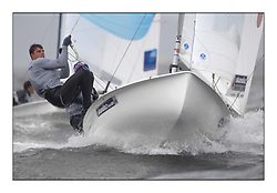 470 Class European Championships Largs - Day 2.Wet and Windy Racing in grey conditions on the Clyde..GBR857, Ben SAXTON, Richard MASON, Royal Thames YC...