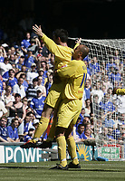 David Nugent celebrates after scoring with Daniele Dichio.<br />Ipswich v Preston. Picture by Barry Bland 29/08/05