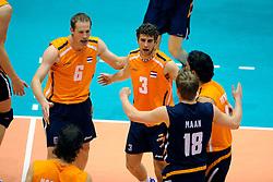 18-05-2008 VOLLEYBAL: EK KWALIFICATIE NEDERLAND - SLOVENIE: ROTTERDAM<br /> Nederland wint ook de laatste wedstrijd met 3-0 - Kristian van der Wel, Jelte Maan, Yannick van Harskamp en Jeroen Trommel<br /> ©2008-WWW.FOTOHOOGENDOORN.NL